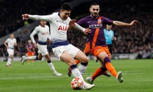 Did Pep Guardiola err in selecting Ilkay Gündogan, seen here with Tottenham's match-winner, Son Heung-min?