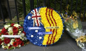 Wreaths are laid in front of Scots' Church ahead of former prime minister Malcolm Frasers funeral in Melbourne, Thursday, March 27, 2015. (AAP Image/Tracey Nearmy) NO ARCHIVING