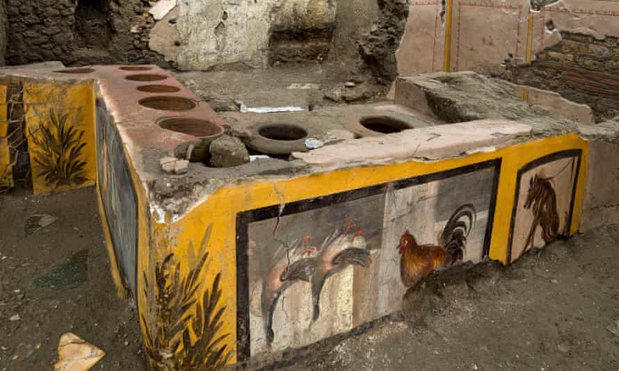 A newly unearthed snack bar – thermopolium – in Pompeii's Regio V area.