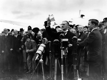 British PM Neville Chamberlain during his 1938 'Peace in our time' address.