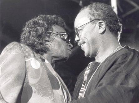 Miles Davis, left, with Quincy Jones at Montreux.