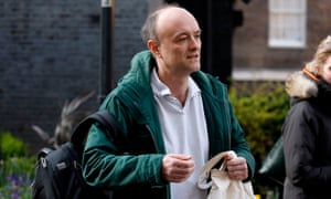 Dominic Cummings arriving in Downing Street on 27 March, the day before he reportedly developed virus symptoms.