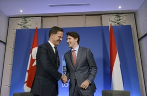 Mark Rutte (left), the prime minister of the Netherlands, with his Canadian counterpart, Justin Trudeau