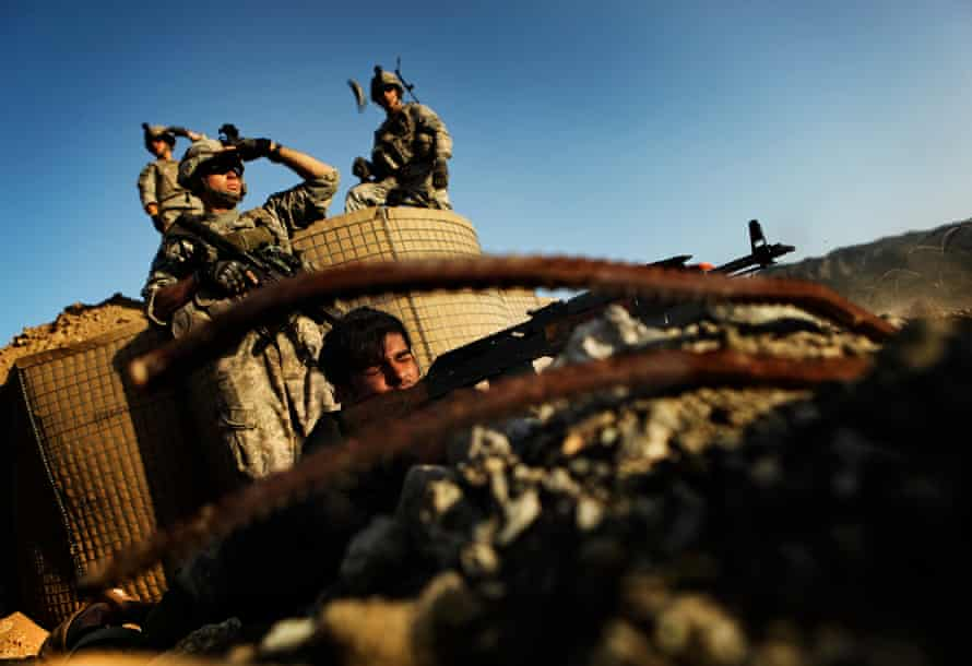 Troops from the U.S. Army train an Afghan National Army soldier