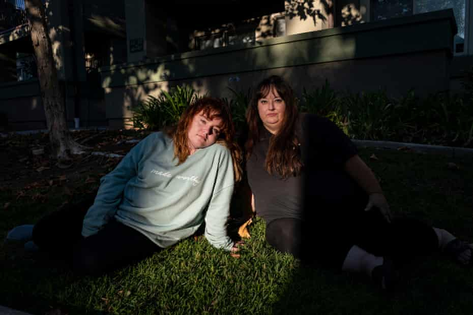 Priscilla and Sierra outside their apartment in Orange County, California where they've been living since September 1, 2019.