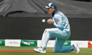 Jason Roy drops a catch during the match at Trent Bridge.