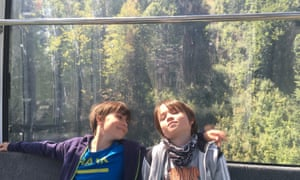 Twin peaks … Liese Spencer's nine-year-old sons ride the cable car