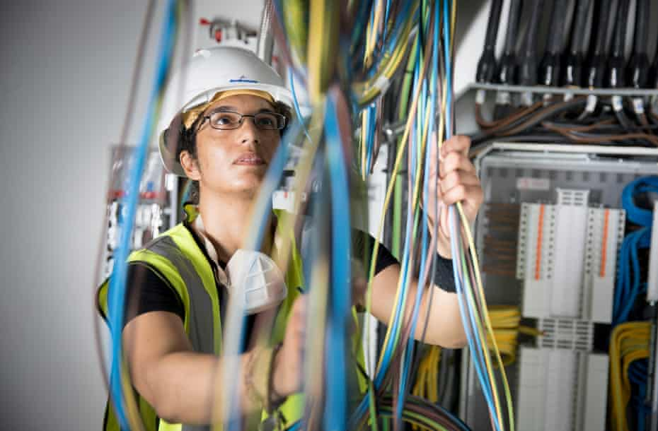 Noorganah Robertson (Nogs), a trainee electrician at the Sutton Point development in south London.