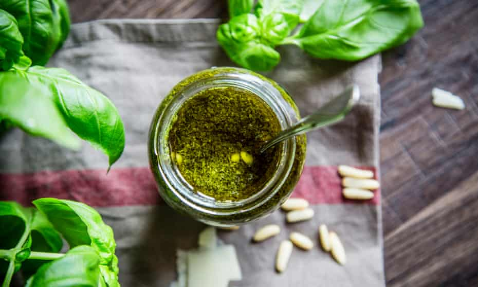 Homemade pesto – less salty than the processed versions.