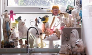 The 'sex shelf' with dogs, heads, hands, Toby jugs, and phalluses, plus a picture of Donald Trump