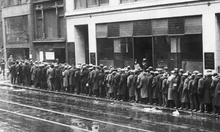 Unemployed New Yorkers queue for bread and handouts during the 1930s Great Depression.