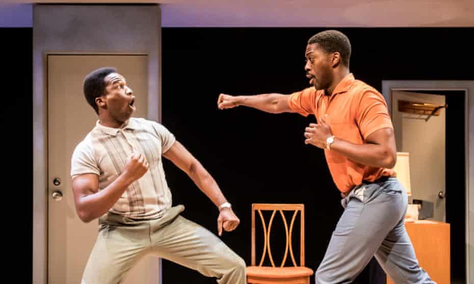 Stirring … Sope Dirisu as Cassius Clay/Ali and David Ajala as Jim Brown in One Night in Miami.