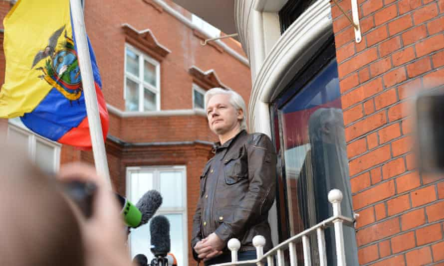 Assange emerges from the Ecuadorian embassy to address a crowd in May 2017.