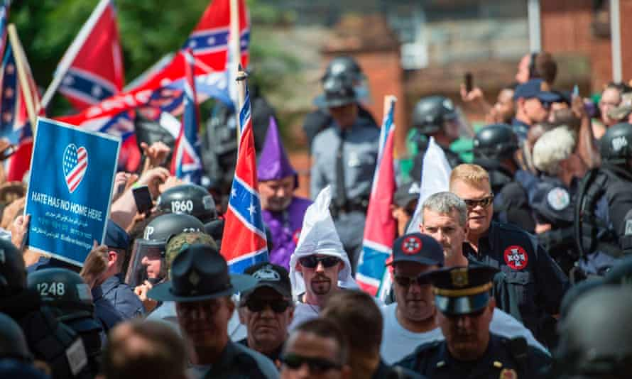 A far-right rally in Charlottesville, Virginia, in defence of southern Confederate monuments