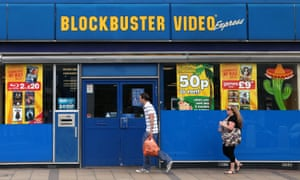 A closed-down Blockbuster shop in London