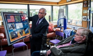 Nasa administrator Charles Bolden meeting Stephen Hawking at Cambridge's Department of Applied Mathematics and Theoretical Cosmology