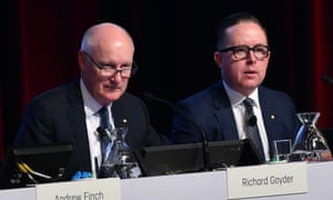 Qantas chair Richard Goyder, left, and chief executive Alan Joyce at the airline's AGM.