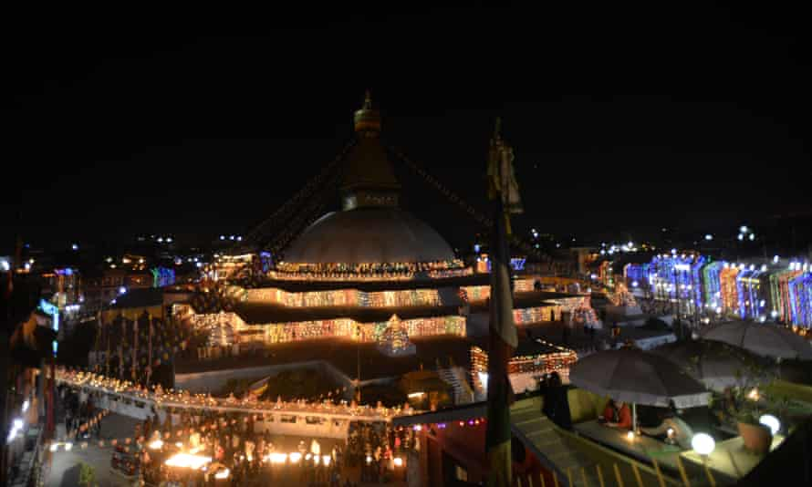 Boudhanath Stupa on its reopening day after its renovation for earthquake damage.