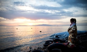 A young Syrian girl, among thousands who have crossed on inflatable boats from Turkey to the island of Lesbos, Greece.