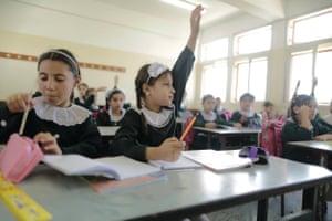 Alaa Habib, nine, whose school was heavily damaged during Israel's Operation Protective Edge