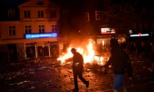 A fire burns amid anti-G20 protests on Friday in Hamburg, Germany.