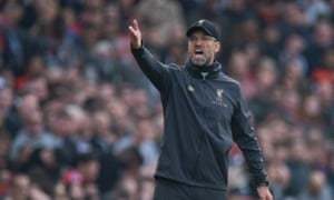 The Liverpool manager, Jürgen Klopp, during last season's 0-0 draw with Manchester United at Old Trafford.