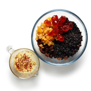 Before making the batter and marzipan, soak the dried fruit in brandy and stir saffron into some warmed milk.