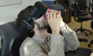 Trying to drink while working in VR proves tricky.