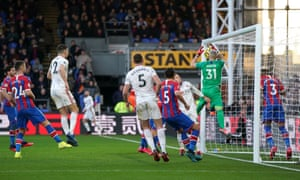 Crystal Palace goalkeeper Vicente Guaita scores an own goal for Sheffield United's opening goal.