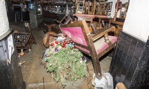 Aftermath of flooding inside the Glenridding Hotel caused by Storm Desmond in December 2015.