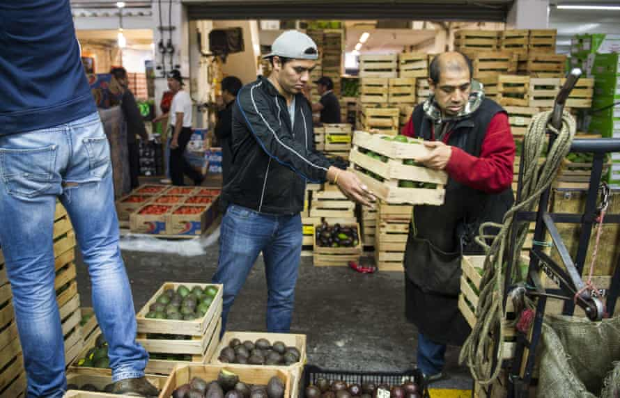 Workers with crates of avocados at a market in Mexico City.