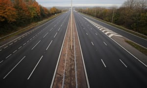 The M5 motorway near junction 8 at 8.45am today, the first day of the English lockdown.