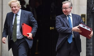 Foreign Secretary Boris Johnson and Environment Secretary Michael Gove leave 10 Downing Street together.