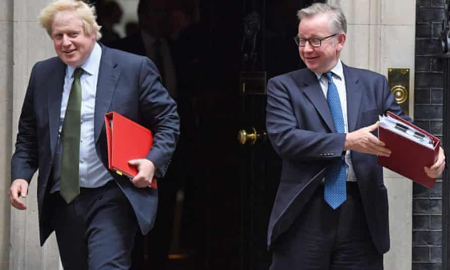 Foreign Secretary Boris Johnson and Environment Secretary Michael Gove leave 10 Downing Street together.