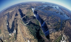 Aerial view of Victoria Falls and the Zambezi River at the border of Zimbabwe and Zambia
