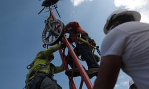 Workers from Montana-based Whitefish Energy Holdings work in Puerto Rico.