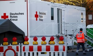 A mobile test station for Covid-19 is set up in the town of Gangelt in Heinsberg, Germany.