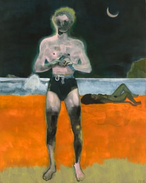 "PETER DOIG, PAINTINGS - 6 SEPTEMBER – 16 NOVEMBER 2019 at Michael Werner Gallery. ""Bather (Night Wave)"", 2019 Dispersion on linen 98 1/2 x 78 3/4 inches 250 x 200 cm DOI 315"