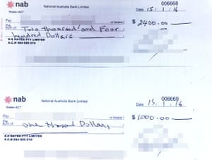 A cheque made out to Lyndsay Heaton's partner for the payment of expenses from Gayed's clinic, and a cheque made out to Femme Medical