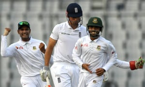 England captain Alastair Cook leaves the field after being dismissed by Mehedi Hasan.