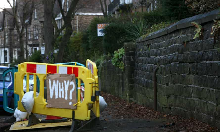 """""""Why?"""" a sign in Rustlings Road, Sheffield, where trees have been felled"""