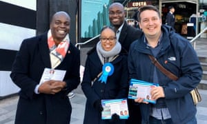 Jayde Edwards, centre, with Shaun Bailey, Conservative mayoral candidate, left, and Mario Creatura, far right