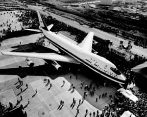 Employees and guests surround the Boeing 747 shortly after its roll out at Boeing's Everett, Washington, plant on 30 September 1968.