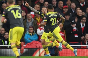 Southampton's Danny Ings (centre) celebrates after scoring the opening goal of the game.