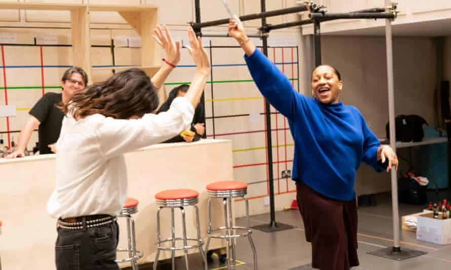 From left, Stuart McQuarrie, Leanne Best and Clare Perkins in rehearsals for Sweat at the Donmar Warehouse.