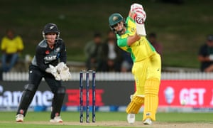 Australia's Ashleigh Gardner plays a drive on her way to a half-century against of New Zealand at Seddon Park.