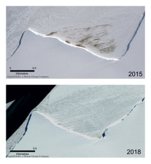 Satellite photos show the site of the Halley Bay emperor penguin colony in Antarctica in 2015 and 2018, when the population collapsed