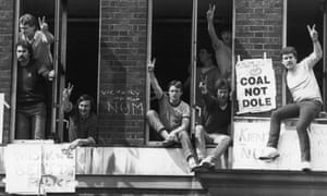 Striking miners occupy the National Coal Board headquarters in London, in protest against the arrest of Arthur Scargill at Orgreave, on 30 May 1984.