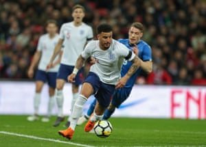 Kyle Walker of England brings ball out of defence