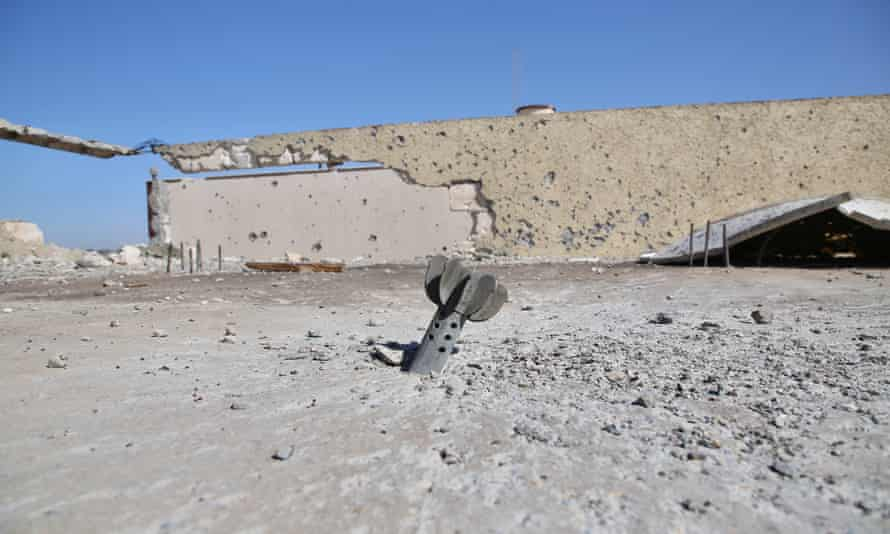 An unexploded rocket left over from the failed 14-month siege of Tripoli by forces loyal to the warlord Khalifa Haftar.